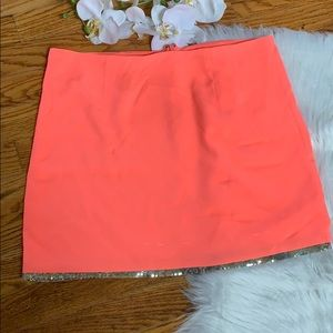 BB Dakota Orange Sequined Hem Mini Skirt